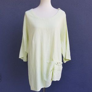 LULU B Lagenlook Artsy Asymmetrical Top 1X Cotton